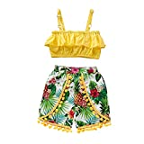 Little Girl Summer Set,Jchen Infant Kids Girls Off Shoulder Ruffle Crop Tops +Pineapple Print Shorts Casual Outfits for 0-4 Yrs (Age:2-3 Years Old, Yellow)