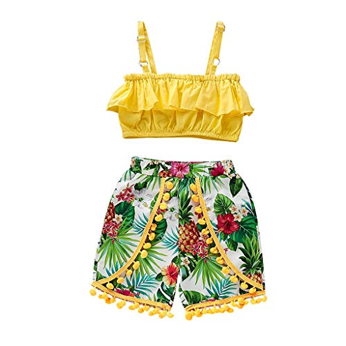 2PCS Newborn Infant Toddler Clothes Set Baby Girls Sleeveless Suspender Tops+Pineapple Print Shorts Outfit 1-4T (18-24 Months, Yellow) ()