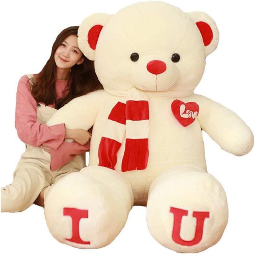 ぬいぐるみテディベアテディベア人形特大ラグドールパンダ人形抱き枕眠れる枕かわいいガーリードール女の子に送るバレンタインデー誕生日ホリデーギフト白赤セータークマ80cm ( Color : B , Size : 1.6m )