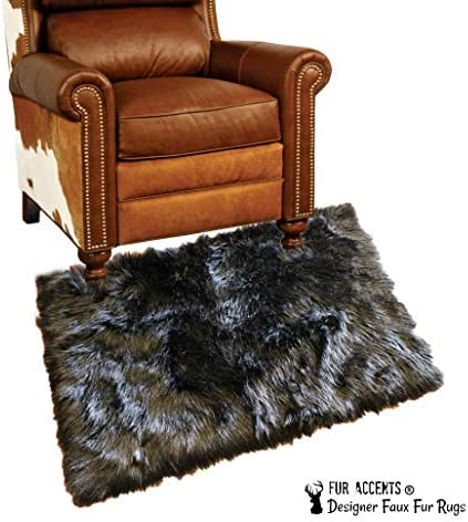 Small 2 x4 – Faux Fur Sheepskin Accent Rug – Plush Black Rectangle Throw Carpet – Bear Skin Pelt Rug – New