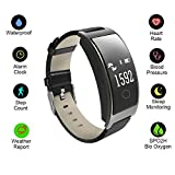 Hangang Fitness Tracker Smart Bracelet Sport tracker Activity Wristband Intelligent Watch health Tracker Heart Rate Blood Pressure Oxygen Monitor For IOS And Android Phone Business Type CK11S-Black