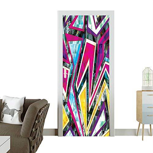 Homesonne 3D Door Decals Diam Til Motifs Diag al Effects Pop Ative Pink Yellow Green Self Adhesive Door DecalW38.5 x H77 INCH