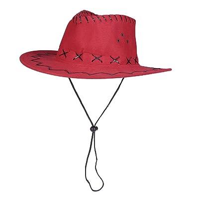 Amosfun Sombrero de Vaquero Occidental Sombrero de Pistolero Niños Sombrero Tejano Vestido de Fiesta Accesorio Rojo: Ropa y accesorios