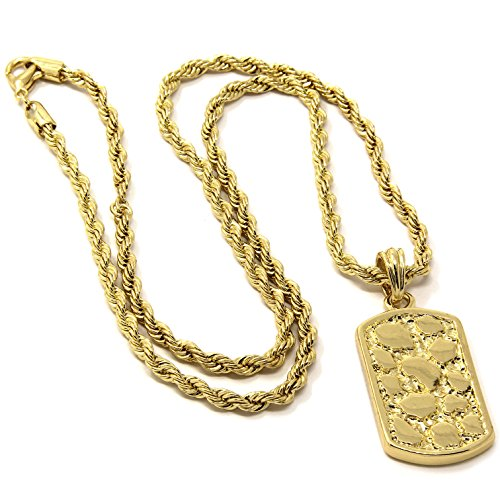 - Mens 14k Gold Plated Nugget Dog Tag Hip-Hop Pendant 30