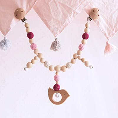 Baby Wooden Birds Shaped Stroller Toys with Bells Colorful Crochet Teether Beads Pacifier Clip Nursing Accessories Montessori Toys: Toys & Games