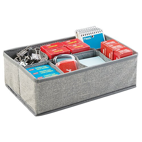 mDesign Fabric Desk Drawer Storage Organizer for Office Supplies, Tape, Staples, Notepads, Sticky Notes - 8 Compartments, Gray