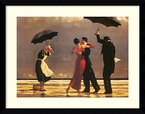 (Amanti Art Framed Home Wall Art Prints | The The Singing Butler by Jack Vettriano | Modern Contemporary, Casual, Classic Decor, Svelte Noir Satin Black Gallery Wood )