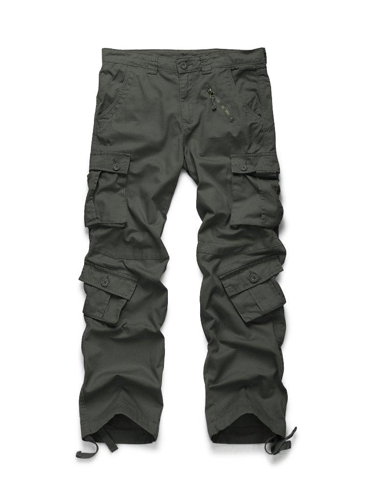 OCHENTA Men's Cotton 8 Pockets Casual Military Work Cargo Pant #3357 Dark Grey 40