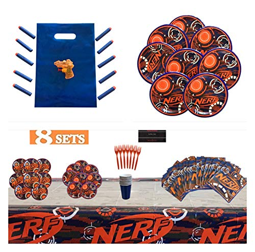 Nerf Compatible Birthday Party Supplies -Tableware - Decorations - Boys Play Guns - Party for 8 with Goodie Bags & Favors -- Lunch and Dessert Plates - Napkins - Table Cover - Darts - Water Guns - Favor Bag - Forks - Cups -Bundled with Custom Birthday Card by Infinite Abundance Supplies