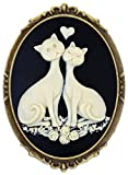 Heart Couple Cat Brooch Pin Shield Decor Antique Brass Cameo Fashion Jewelry Pouch for Gift