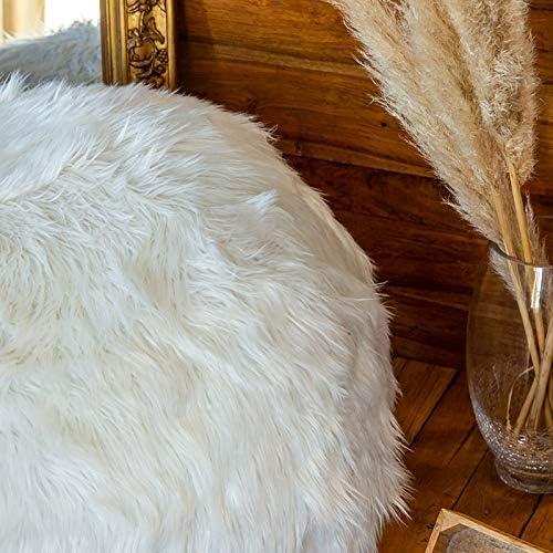 ultra confortevole lavabile in lavatrice Pouf in pelliccia bianca 80 cm riempito di schiuma distrutta cuscino doppio