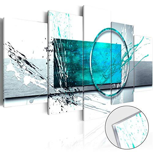 Abstract Art Art - Extra Large Turquoise Expression Framed Abstract Painting Canvas Print Wall Art Stretched Artwork