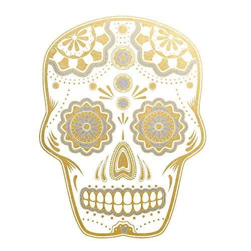 Sugar Skull set of 25 premium waterproof metallic gold and silver temporary jewelry foil Flash Tattoos - Party Favors - Party Supplies - (Sugar Skull Flash)