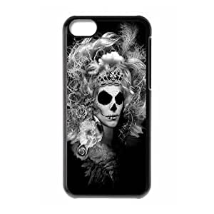 Diy Beautiful Girl Sugar Skull Custom Cover Phone Case for iphone 5c Black Shell Phone [Pattern-2]