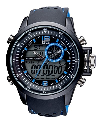 Daniel Steiger Momentum Blue Dual Analogue & Digital Men's Watch - Hybrid Sports Watch - Durable Color Silicone Band - Digital Alarm & Calendar Functions - Water Resistant
