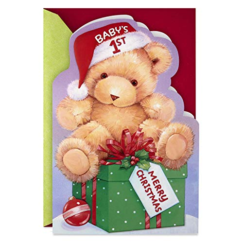 Hallmark Baby's First Christmas Card with Removable Sticker (Teddy Bear) (Christmas Nephew's Card First)