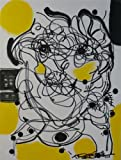 Art yellow original painting abstract face black Picture