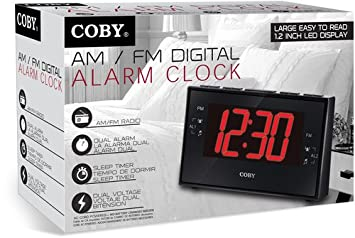 Coby CBCR-103-BLK Digital Alarm Clock with AM/FM Radio and Dual