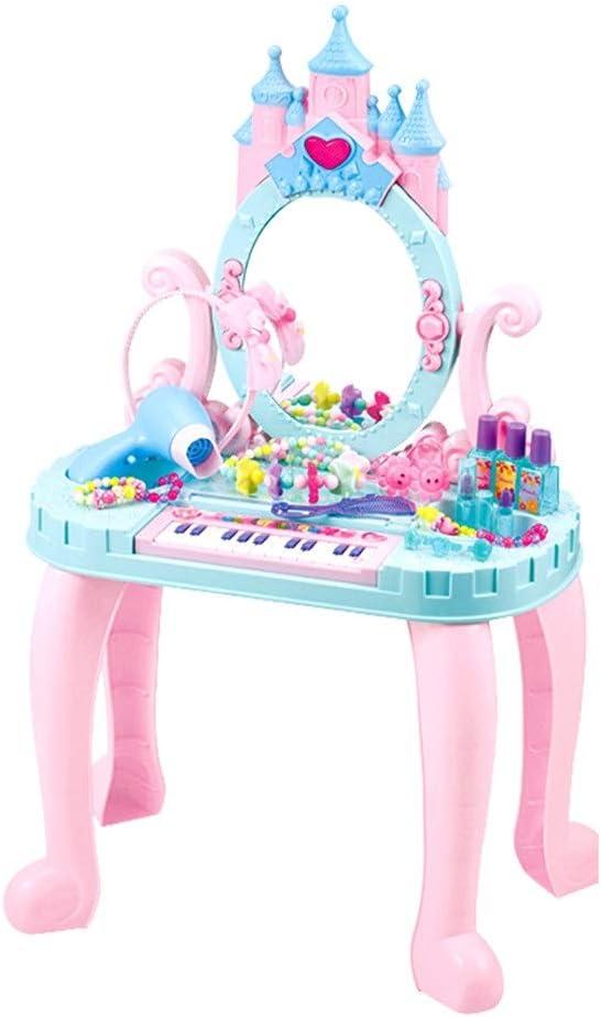 子供用化粧台 アクセサリーメイクで女子バニティセットピンクのプリンセスドレッシングテーブル付きミラー用キッドロールプレイふり 女の子のドレッシングに適しています (Color : Pink, Size : 44x28x74cm)