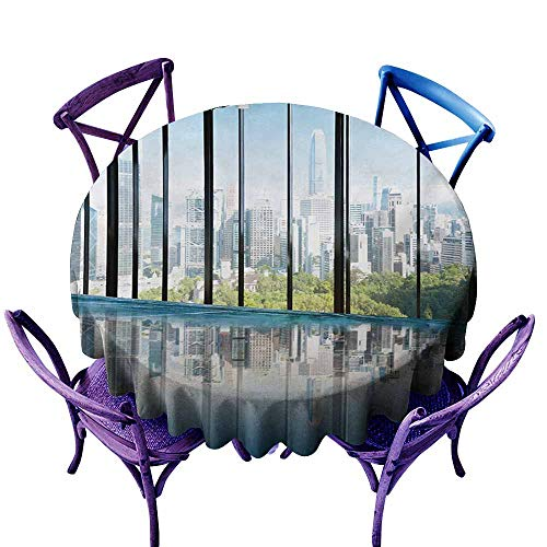 Spill-Proof Table Cover,Modern Metropolitan Cityscape of New York USA in Central Park Forest Photograph,for Events Party Restaurant Dining Table Cover,50 INCH,Sky Blue and Green