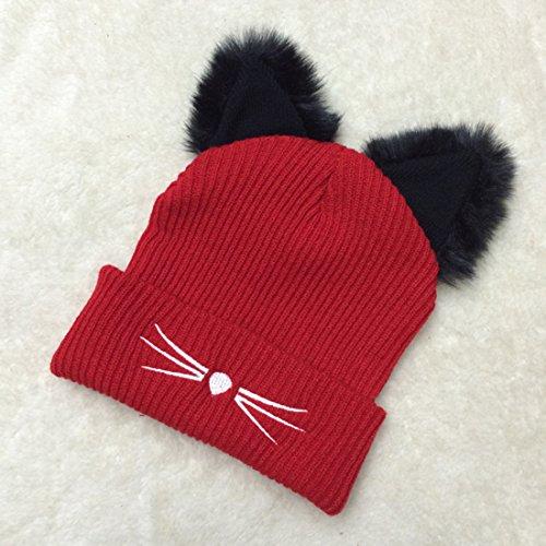 1b280e21d8695 high-quality NW 1776 Sombrero de mujer gato oreja ganchillo trenzado de punto  gorras snowboard