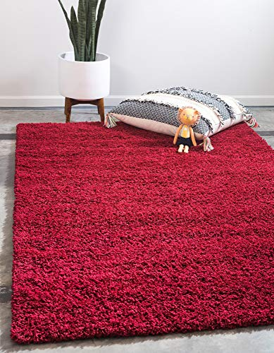 Unique Loom Solo Solid Shag Collection Modern Plush Cherry Red Area Rug (5' 0 x 8' 0) (Rugs Color Hearth Solid)