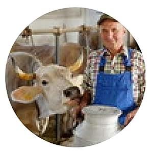 alfombrilla de ratón Farmer está trabajando en la granja orgánica con vacas lecheras - ronda - 20cm