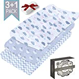 Cot with Changing Table Changing Pad Cover Set by Zaina: Stretchy Cotton Changing Table Liner, Hypoallergenic Baby Cradle Fitted Sheet for Newborn Babies, Infants & Toddlers, for Boys & Girls - with Waterproof Cover