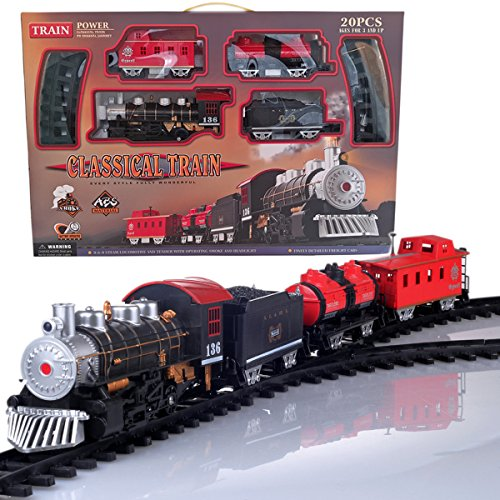 Toy Train Set, Classical Electric Train Set Steam Smoking Simulation Sound Train for Kids