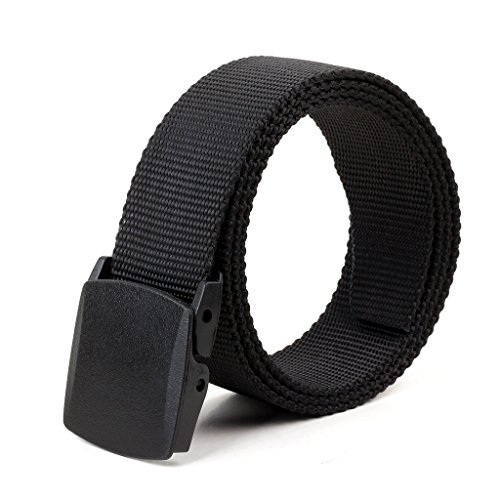ALAIX Nylon 4.0CM Wide Adjustable Belt With Double Military Plastic Buckles,Black (Nylon Belts For Men compare prices)