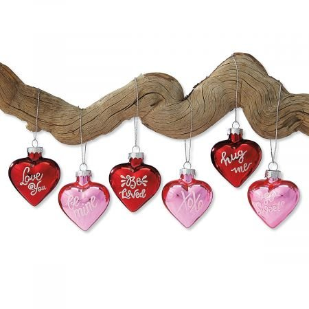Lillian Vernon Glass Heart Valentine's Day Ornaments - Set of 12 (6 of Each Design) 1-1/4