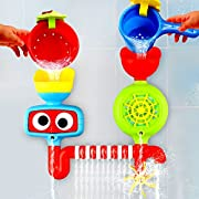 Playboom Baby Bath Toy - Waterfall Water Station with Two Stackable Cups by Enhance Your Baby's Thinking Ability and Creativity Great Toy For Boys - Girls-Toddlers