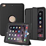 New iPad 2017/2018 Case, SEYMAC Smart Case [Protective Cover] with Auto Sleep Wake Function, Three Layer Drop Protection Rugged/Heavy Duty Case for New iPad 9.7 inch (Black)