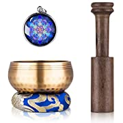 #LightningDeal Tibetan Singing Bowl Set - Sing Bowl Unique Gift Helpful for Meditation, Yoga, Relaxation, Chakra Healing, Prayer and Mindfulness (Golden)