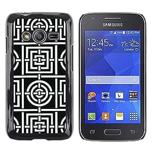 iKiki Tech / Estuche rígido - White Pattern Lines Tiles Shape - Samsung Galaxy Ace 4 G313 SM-G313F