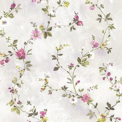 Beacon House 2605-21639 Isabella Floral Trail Wallpaper, Purple