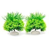 MACHUMA Artificial Aquarium Plants 2Pcs, Fish Tank Aquarium Decorations Foreground Green Water Plants, Non-toxic & Safe for all Fish & Pets