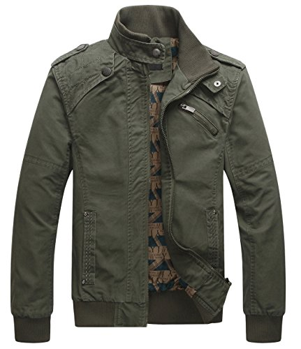 chouyatou Men's Casual Long Sleeve Full Zip Jacket with Shoulder Straps (X-Large, Army Green)