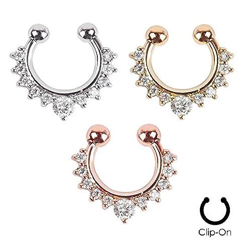 Fake Faux Nose Ring Rhinestone Septum Unique Women Nose Studs Nail Hoops Clip on Hanger Cute Body Jewelry 3PCS White Rhinestone Edge