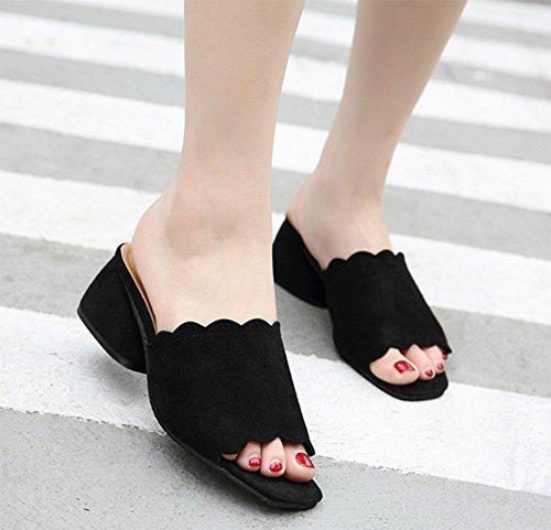 zapatillas de verano de mujeres en bruto con la dama con sandalias y zapatillas de punta abierta zapatos de la cabeza de pescado palabra negro