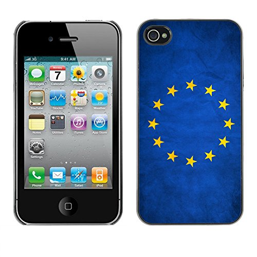 Omega Case PC Polycarbonate Cas Coque Drapeau - Apple iPhone 4 / 4S ( European Union EU Grunge Flag )