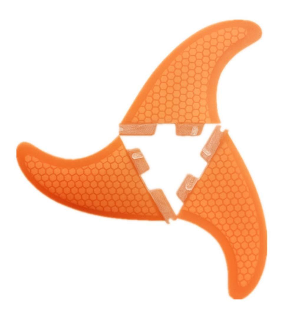 ONCEFIRST Fibreglass Surfboard Fins Base Surfing Thruster FCS II G5 (3 Fins) Orange M