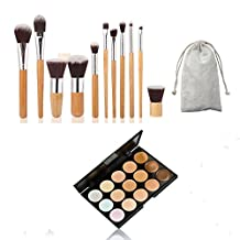 AwesomeMall 15 Colors Contour Face Cream Makeup Concealer Palette + 11 PCS Makeup Brush Set Cosmetic Bamboo Handle with a brush bag