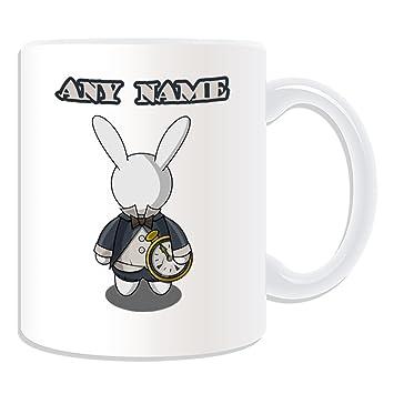 De regalo con mensaje personalizado - de conejo blanco taza de desayuno (molde para hacer