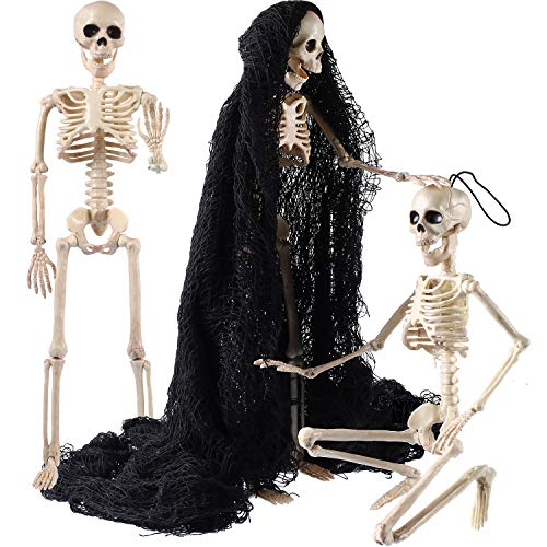 Jetec 3 Pieces Halloween Skeleton Full Body Plastic Skeleton Model Scary Man Bone 19.7 Inch with Creepy Cloth for Halloween Decorations Haunted Houses Graveyard Scene Creepy Decor Party - Party Decorations Show For Freak