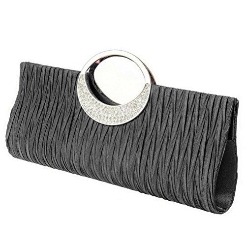 FASHIONROAD Pleated Clutch Party Purse Luxury Satin Evening Handbag Black Wedding Rhinestone Womens arwqTaCxB