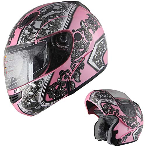 Motorcycle Helmet Adult DOT Modular Flip up Full Face Sports Bike Snowmobile Helmet with Anti-Fog Shield (138 Pink, M) ()