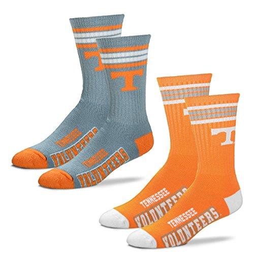 - For Bare Feet Men's 4 Stripe Deuce Crew Socks-Tennessee Volunteers-Large-2 Pack