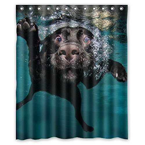 Popular funny lovely Labrador dog Bathroom Shower Curtain, Shower Rings Included 100% Polyester Waterproof 60'' x 72'' by FMSHPON