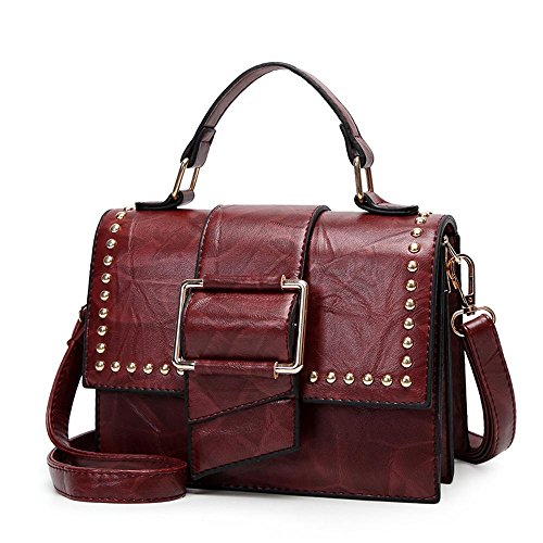 Aoligei Femelle simple sac à main pour le paquet de côté petites croix oblique rivet mode européens et américains B